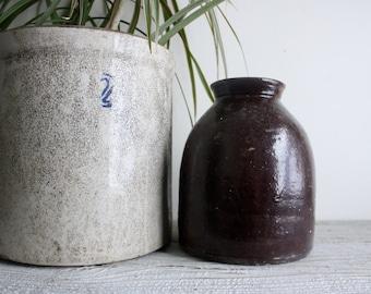 Vintage Crock, Dark Brown Antique Hand Made Pottery Vase or Planter
