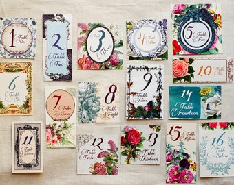 Secret Garden Wedding Table Numbers