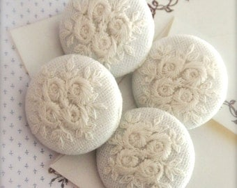 Handmade Victorian Country Wedding Off White Floral Flower Rose Lace Fabric Covered Buttons Fridge Magnets, Flat Backs, 1.25's 4's