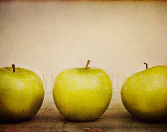 Abstract kitchen Fine Art Photography, apple orchard, green, 3 apples, nature photography, fruit photography