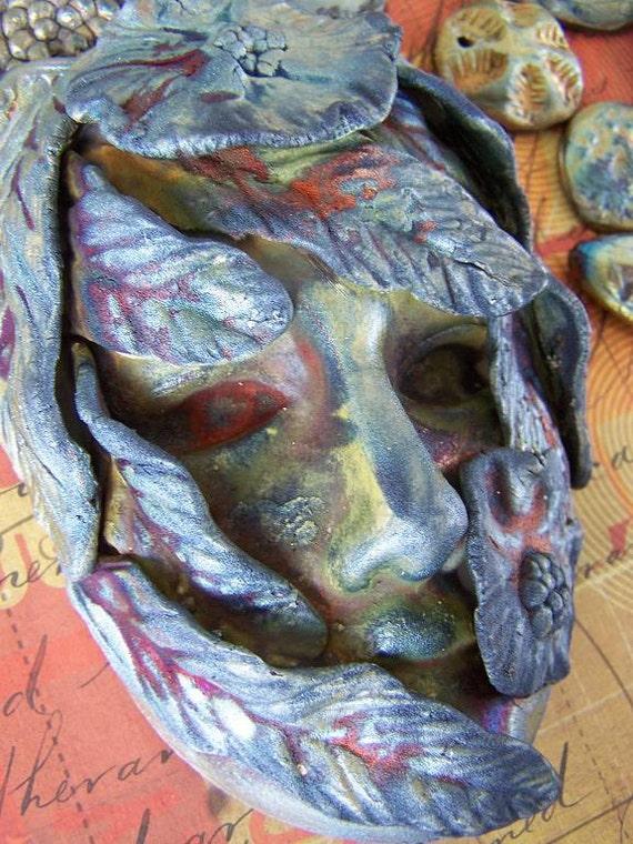 OOAK Raku máscara Chameleon mujer