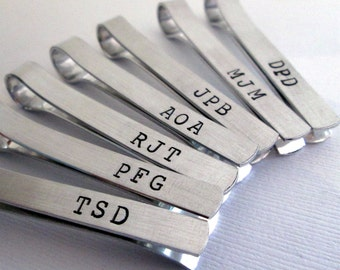 Groomsmen Set of 13 -Personalized Men's Tie Bar - Monogramed Tie Clip - Aluminum Tie Bar - Groomsmen Tie Bar