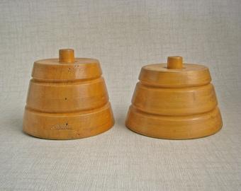 Vintage SET (2) HATTER's Milliner's Euro Wood Hat Block STANDs SPINNERs