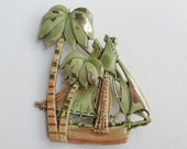 Vintage sailboat and palm trees enamel brooch or pin layered and dimensional pirate ship