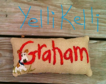 Freehand Embroidered Name Mini Pillow With TOOTH FAIRY POCKET YelliKelli