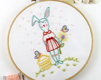Bunny Rabbit Hand Embroidery PDF Pattern Easter Spring