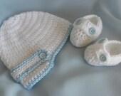 Crocheted christening set, christening booties, christening hat, newsboy hat, baby boy booties, crochet baby booties, baby boy hat, booties