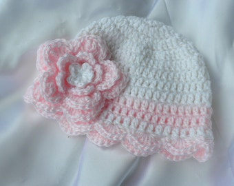 Crochet Baby Hat, Newborn Baby Girl Hat, White Hat with Pink Flower, Christening Baby Hat, Baptism Baby Hat, Photo Prop Hat, Baby Beanie
