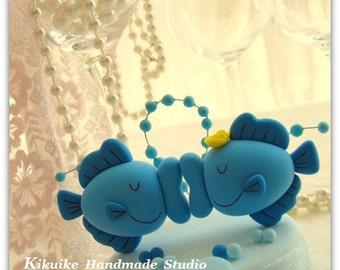 kissing fish wedding cake topper---k624