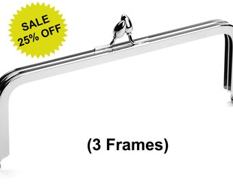 "3pcs - 8"" x 3"" Nickel Purse Frame with Teardrop Clasp - Free Shipping (PURSE FRAME FRM-100)"