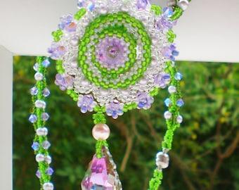 Rivoli Lavender Purple Green Beadwoven Necklace Unique Beaded Beadwork Beadweaving Jewelry Lavender Field