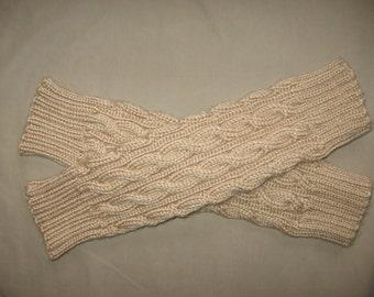 Bone Beige Cable Leg Warmers Hand Knit