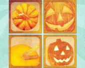 GRUNGE PUMPKINS Digital Collage Sheet 1.5in or 1in Squares Halloween Jack-O-Lantern - no. 0016