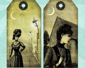Printable Tags WUTHERING HEIGHTS Spooky Victoriana Digital Collage Sheet Tags & Bookmark - no. 0053