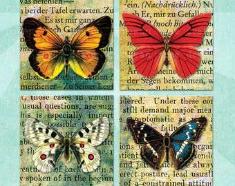 BUTTERFLIES on VINTAGE TEXT Digital Collage Sheet 1.5in or 1in Squares - no. 0038