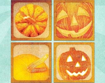 GRUNGE PUMPKINS Digital Collage Sheet 1.5in or 1in Squares Halloween Jack-O-Lantern - no. 0016