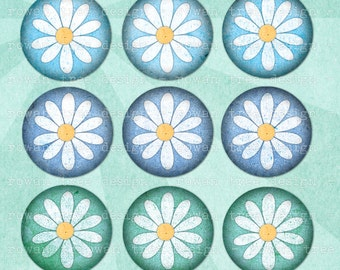 Digital Collage Sheet SPRING DAISIES 1in Circles Printable Download - no. 0166