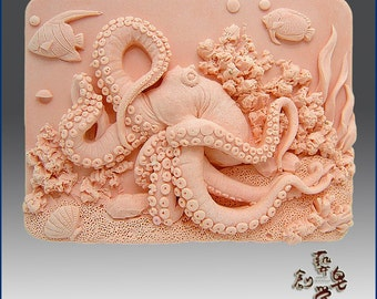 2D Silicone Soap Mold - Octopus on Coral Reef