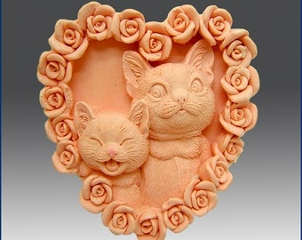 2D Silicone Soap Mold - Kitty Kat Heart- free shipping