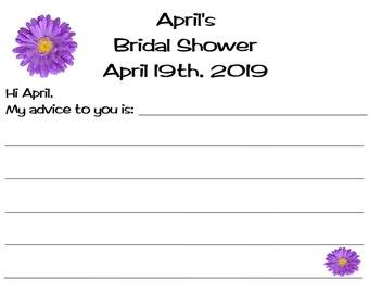 Bridal Wedding Shower Advice Cards 40 Quantity