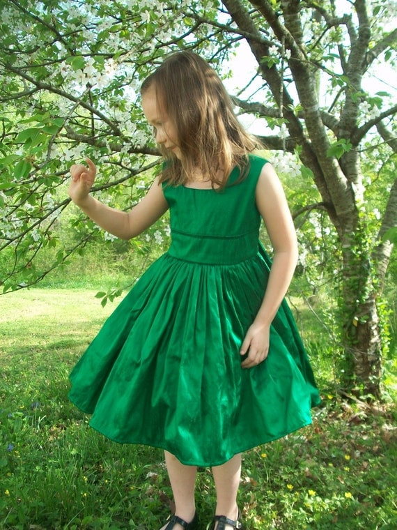 Emerald Green Silk Flower Girl Christmas Party Dress Any Color Custom Made