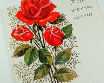 Vintage Greeting Card, Get Well, To The Hospital Patient, Unused, Red Roses, Flowers   (149-13)