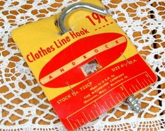 Vintage Clothes Line Hook, Androck, Metal Industrial Hook, Hanger, NOS, Unused  (8594)