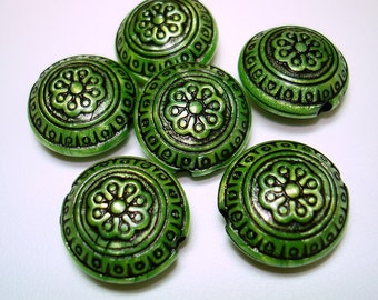 Green Antique Acrylic Lentil Beads (Qty 6) - B1883