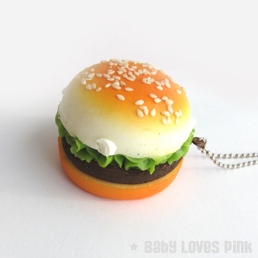 Scented Burger Necklace Large Squishy burger