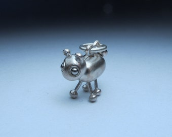 steampunk robot necklace LAMB BOT sterling silver and stainless steel