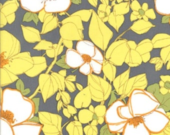 Citron Gray Lulu Floral fabric CX4792  | Cotton Quilting fabric | Michael Miller
