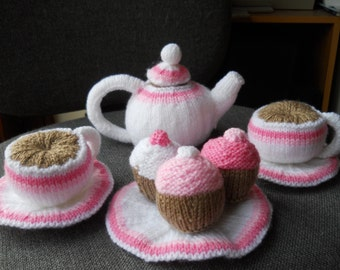 Knitted play tea set, knitted play food  toy tea set, play food,knitted cups knitted tea pot knitted plates knitted cupcakesknitted saucers