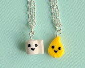Kawaii Toilet Paper and Pee Drop Charm Best Friend Necklaces