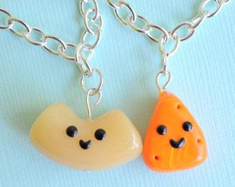 BFF Bracelets Macaroni and Cheese Best Friends Miniature Food Jewelry, Polymer Clay, BFF Gift