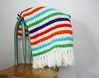 vintage 70s Handmade Crochet Colorful Rainbow Stripes Fringe Throw Blanket
