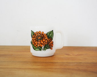 vintage 70s Zinnias for Friendship Flower Glasbake Mug