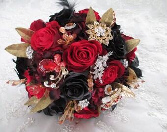 Red Velvet Rose Bridal Bouquet Set......12-Piece Venetian Renaissance Gold Silver