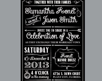 Chalkboard wedding invitation Etsy