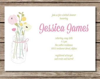 Mason Jar Bouquet Bridal Shower Invitation - Pink and Green