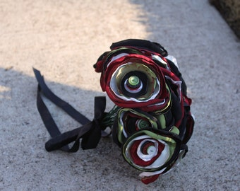 SALE : Red Black and Olive Green Satin Button Bouquet
