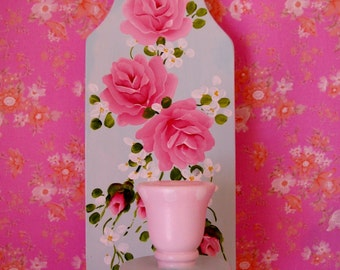 Candle Sconce Wall Holder Pink Aqua Hand Painted Roses Shabby Chic