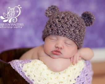 Newborn Purple Fuzzy Bear Hat... Photography Prop.. Ready to ship