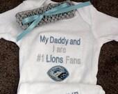 Detroit Lions Football Baby Infant Newborn Onesie Creeper and Cochet Headband set