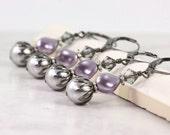 Lilac Bridal Jewelry Lavender Wedding Lilac Pearl Earrings Steel Gray Gunmetal Crystal Earrings Gray Pearl Earrings Mauve Bridesmaid Earring