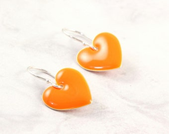Orange Heart Earrings Valentine Jewelry Enameled Silver Bright Orange Spring Fashion