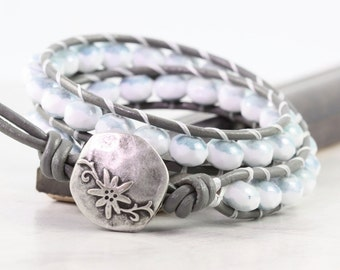 Denim Leather Wrap Bracelet Gray Leather Jewelry White Wrap Bracelet Double Wrap Bohemian Jewelry Blue Wrap Bracelet Boho Jewelry Beaded