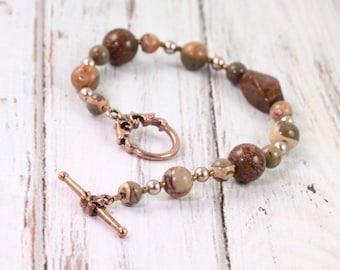 Brown Bracelet, Chrysanthemum Stone Jewelry, Safari Jasper, Bronze Metallic