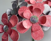 Red and Gray, Paper Flowers, Paper Bouquet, Thinking of You, Sympathy Gift, Thank You Gift