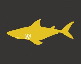 Shark Art, shark nursery art for boys 13 x 19 Print - customizable colors