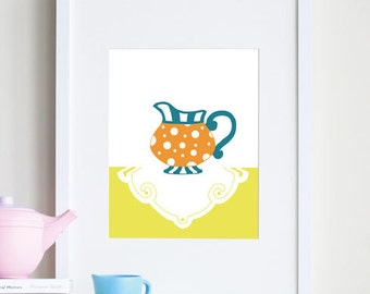 Girl nursery art, tea party print - customizable colors